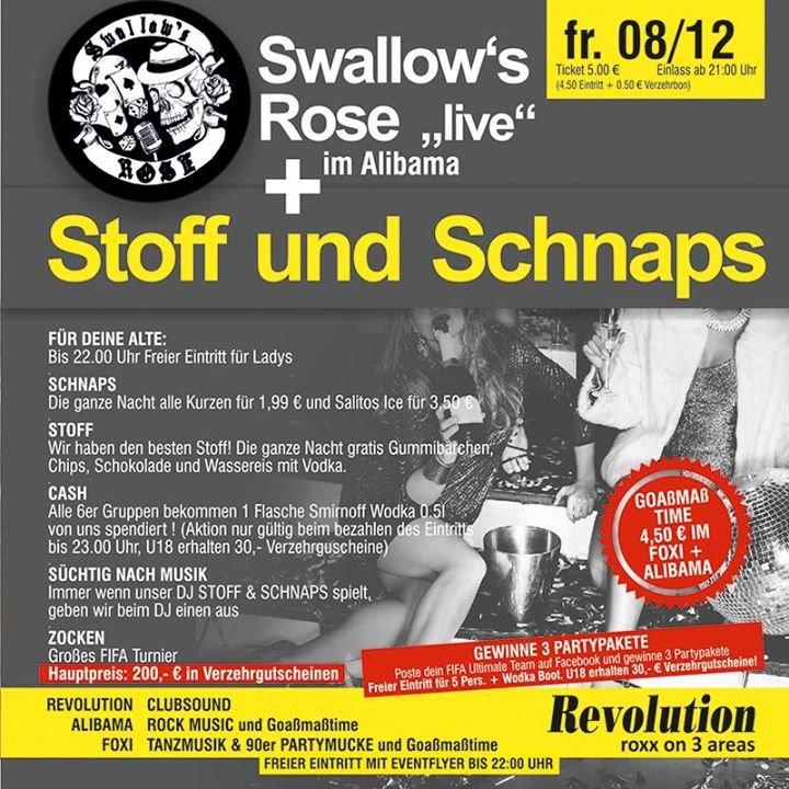 party swallow s rose live stoff und schnaps diskothek revolution in geiersthal. Black Bedroom Furniture Sets. Home Design Ideas