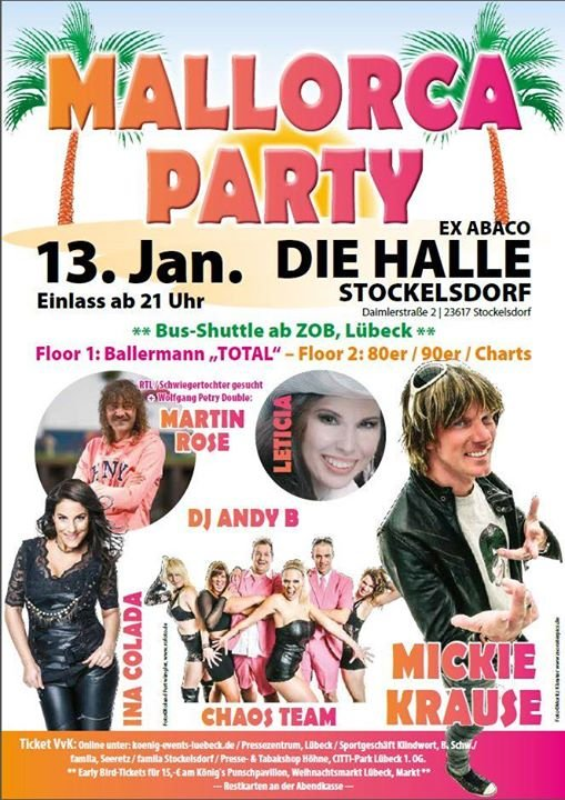 party mallorca party die halle l beck in stockelsdorf l beck. Black Bedroom Furniture Sets. Home Design Ideas