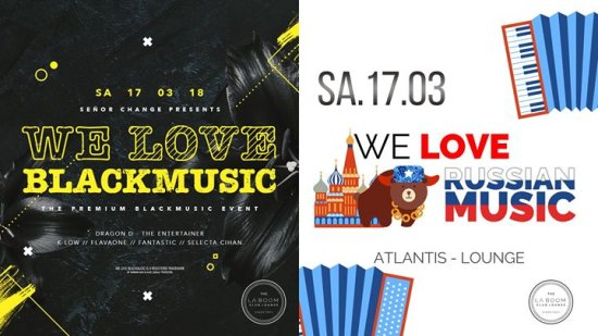 Sa 17.03. We Love BlackMusic / We Love RussianMusic - 2 AREAS